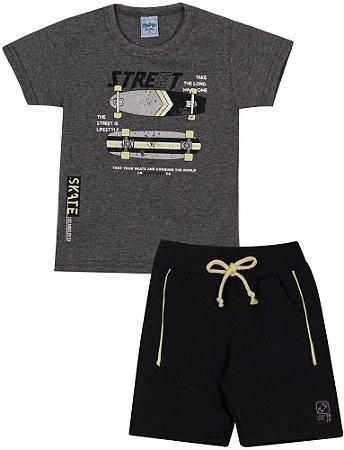 Conjunto Infantil Camiseta + Short Moletinho Skate Serelepe 6772