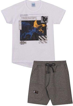 Conjunto Infantil Camiseta Longline + Short Moletinho Dinossauro Serelepe 6820