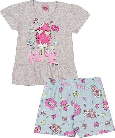 Pijama Curto Infantil Sorvete (Brilha no Escuro) Serelepe 6840