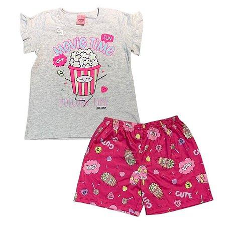 Pijama Curto Infantil Pipoca (Brilha no Escuro) Serelepe 6841