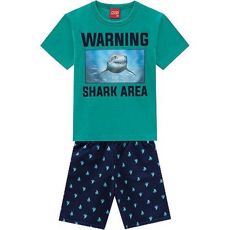 Conjunto Infantil Kyly Bermuda Moletinho e Camiseta Tubarão 3D 110301