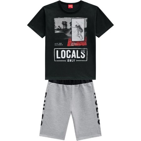 Conjunto Infantil Kyly Bermuda Moletinho e Camiseta Masc 110321