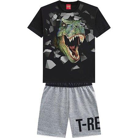 Conjunto Infantil Kyly Short Moletinho e Camiseta Dinossauro 110298