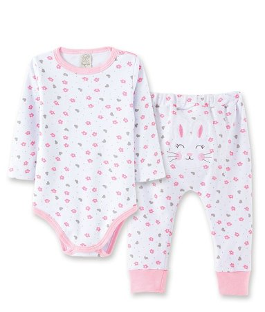 Pijama para Bebê Body Longo + Calça  Pingo Lelê 76044