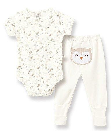 Conjunto Bebê Body Curto + Calça Coruja Pingo Lelê 66267