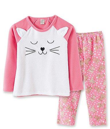 Pijama Longo Infantil em Soft Gatinha Rosa Pingo Lelê  76053