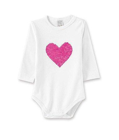 Body Infantil Manga Longa com Estampa Coração em Lantejoula Reversível 66259