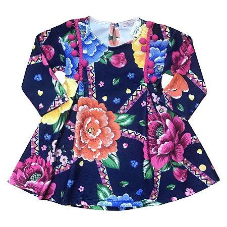 Vestido Manga Longa Floral - Mon Sucre 1618