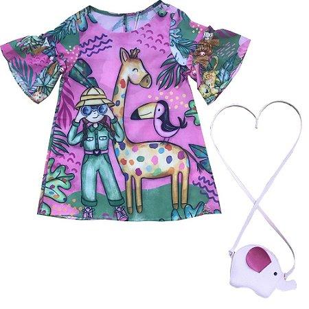 Vestido Infantil Curto Safari com Bolsinha - Mon Sucre 7336