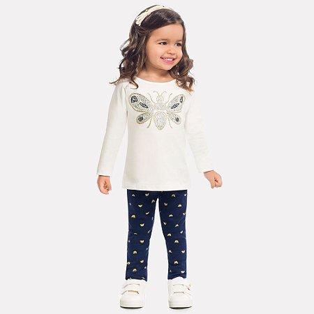 Conjunto Infantil Blusa Borboleta e Legging Milon 12116
