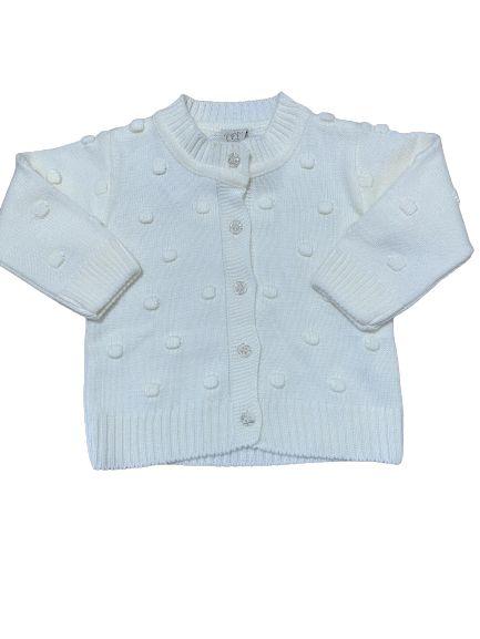 Casaco Infantil em Tricot Off White Pingo Lelê 66210
