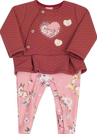 Macacão Bebê Com Pé e Manga Longa Vermelho Serelepe  5303