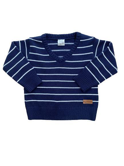 Cardigan Tricô Infantil Listrado Azul Marinho Pingo Lelê 66027