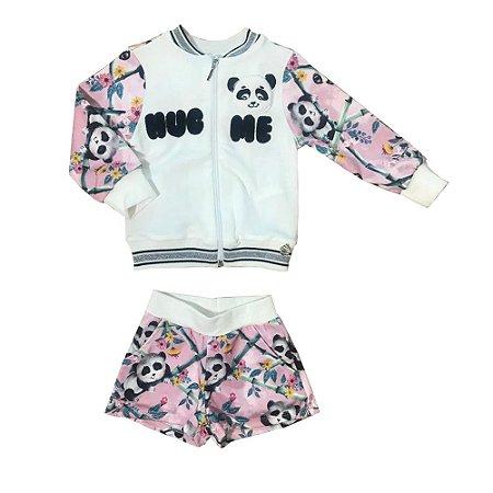 Conjunto Infantil Short Panda + Casaco com Ziper Mon Sucre 3200