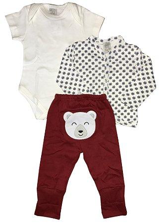 Conjunto Infantil Body Curto + Casaco + Calça Pingo Lelê  66507