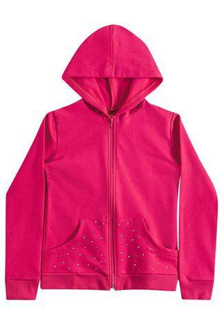 Blusa Moletom Infantil c/ Zíper e Capuz Pink Kyly 206219