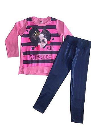 Conjunto Infantil Blusa Manga Longa Pink + Legging  Serelepe 4947
