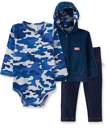 Conjunto Bebê Body Longo + Calça Cotton Jeans + Casaco Pingo Lelê 66222