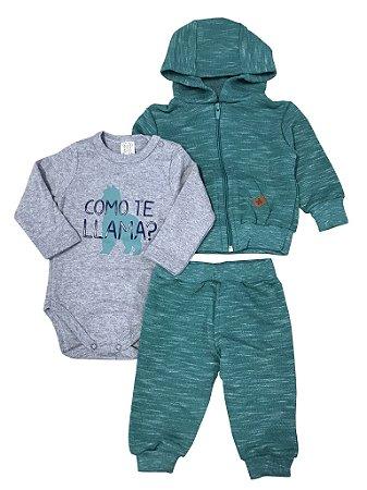Conjunto Bebê Body Longo + Calça + Casaco Verde Pingo Lelê 66232