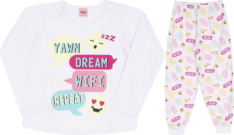 Pijama Infantil Blusa Manga Longa Branca + Calça Serelepe 5459