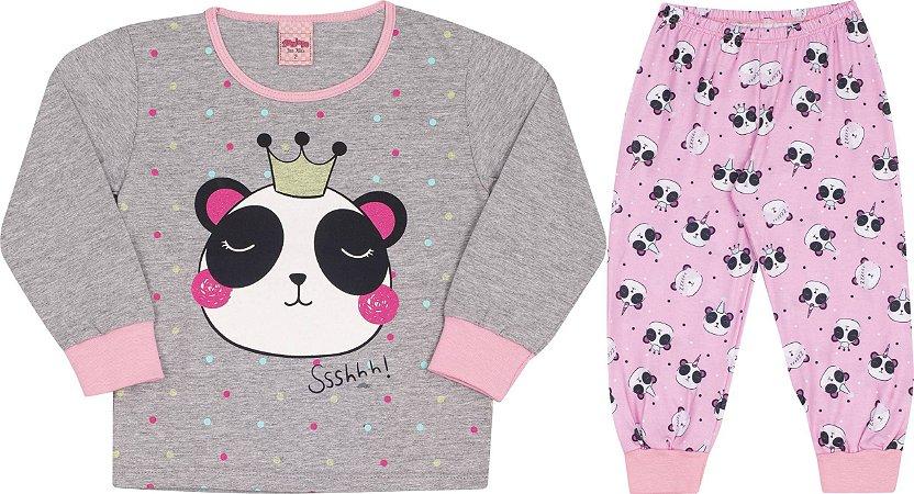 Pijama Manga Longa Infantil Panda Cinza Serelepe 5455
