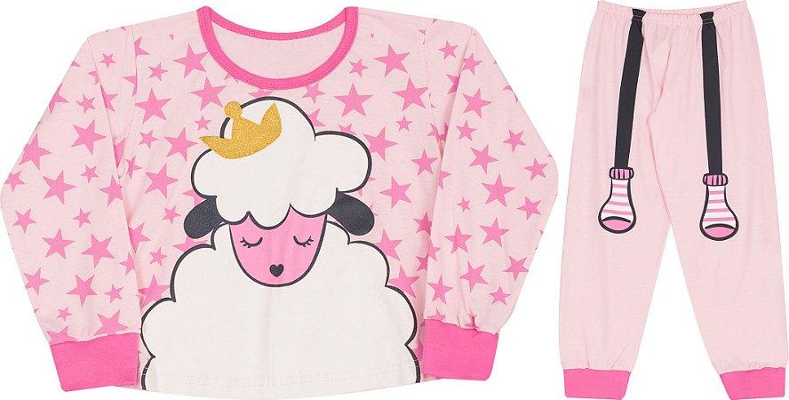 Pijama Infantil Manga Longa Rosa Serelepe 4979