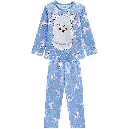 Pijama Longo Infantil Lhama Azul Kyly 207239