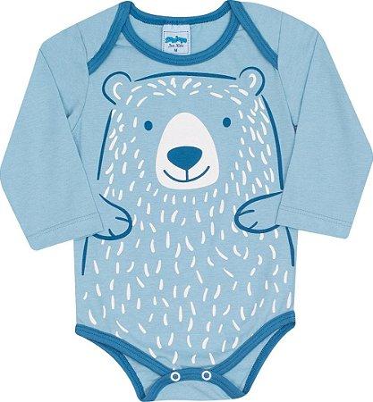 Body Bebê Manga Longa Azul Serelepe 4804