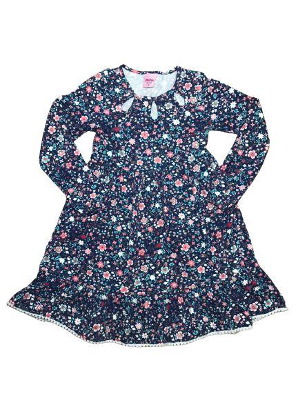 Vestido Manga Longa Infantil Florido Serelepe 4954 Azul Marinho