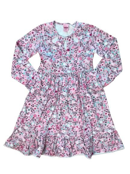 Vestido Manga Longa Infantil Florido Serelepe 4954 Rosa