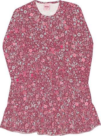 Vestido Manga Longa Infantil Florido Serelepe 4954 Vermelho