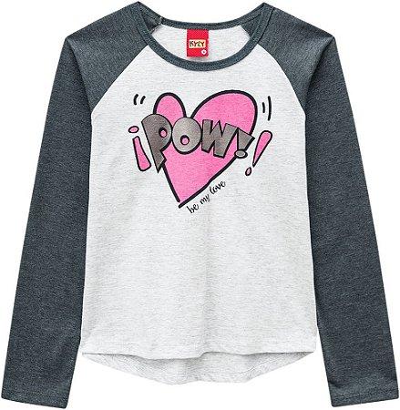 Blusa Infantil Manga Longa Kyly - Cinza 206672