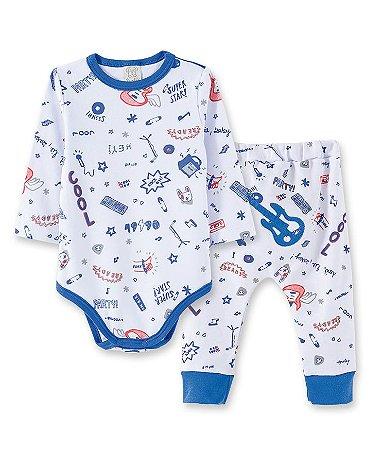 Pijama Bebê em Suedine Body Longo + Calça Rock Pingo Lelê 86031