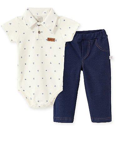 Conjunto Body  Gola Polo + Calça Cotton Jeans Pingo Lelê 66341