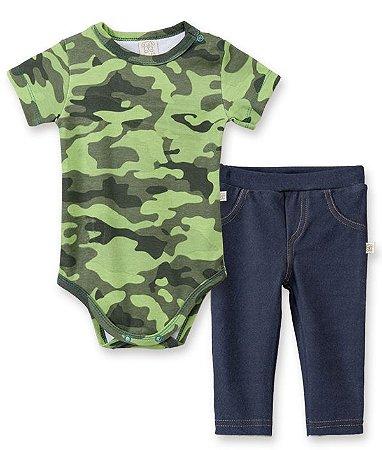 Conjunto Bebê Body Curto + Calça Cotton Jeans Pingo Lelê 66156