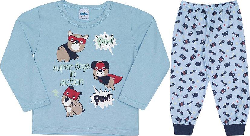 Pijama Infantil Manga Longa Azul Serelepe 5457