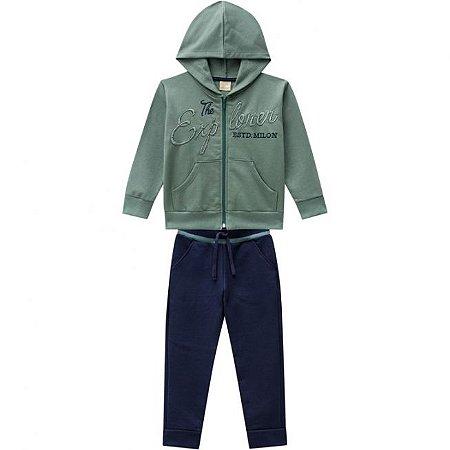 Conjunto Infantil Calça + Casaco Ziper c/ Capuz - Verde 11475