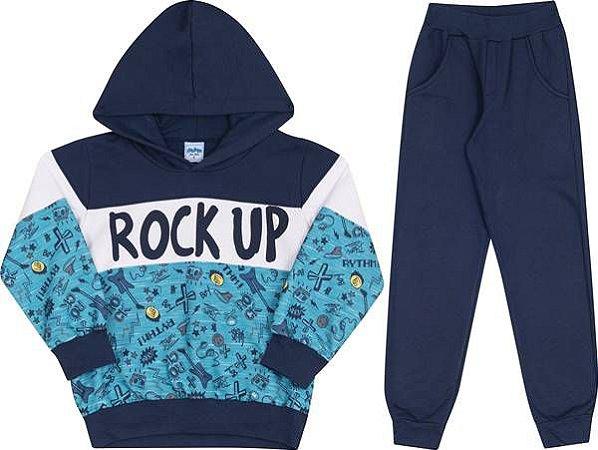 Conjunto Infantil Blusa Moletom com Capuz Azul  + Calça  5434  Serelepe