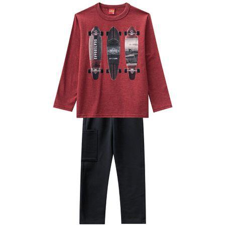 Conjunto Infantil Blusa Malha + Calça Moletom Skate Kyly 206767 VERMELHO