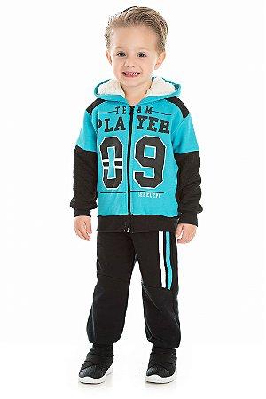 Conjunto Infantil Casaco com Ziper Azul + Calça Moletom Serelepe 5412