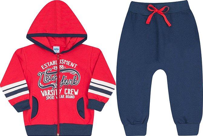 Conjunto Infantil Calça + Casaco com Zíper Vermelho Serelepe 4861
