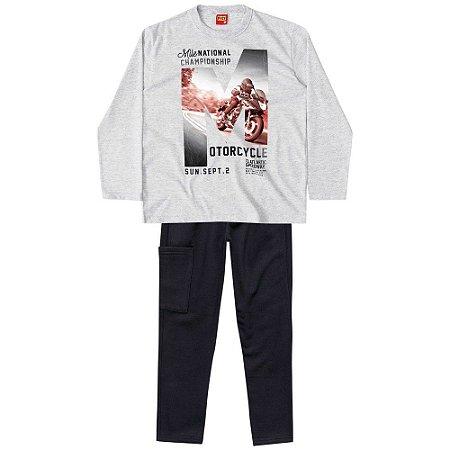 Conjunto Infantil Blusa Malha + Calça Moletom Moto Kyly 206466