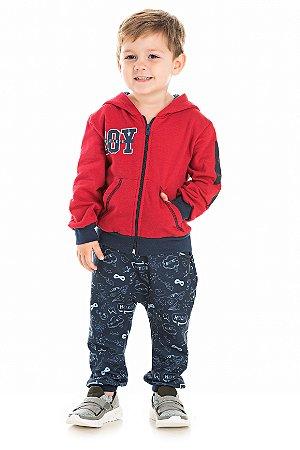 Conjunto Infantil Calça Moletom Saruel + Casaco com Ziper e Capuz Vermelho Serelepe 5410