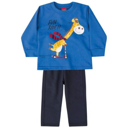 Conjunto Infantil Moletom Blusa + Calça Girafa Kyly 206417