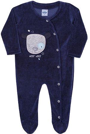 Macacão Bebê Manga Longa em Plush Azul Serelepe 5977