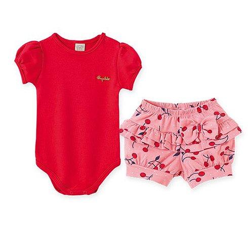 Conjunto Infantil Body Manga Curta e Shorts Cereja 66553