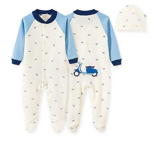 Macacão Longo c/ Touca para Bebê em Suedine Moto 66561