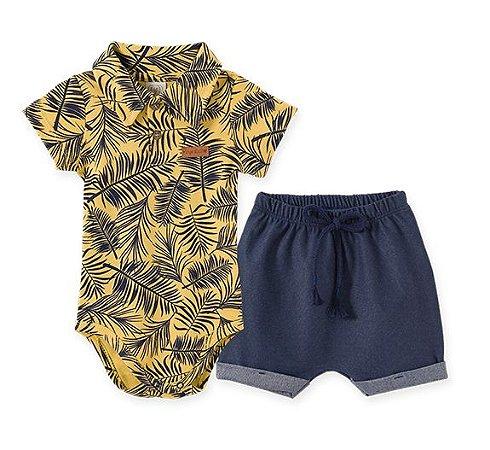 Conj Infantil Body Manga Curta e Gola Polo + Short Jeans 66627