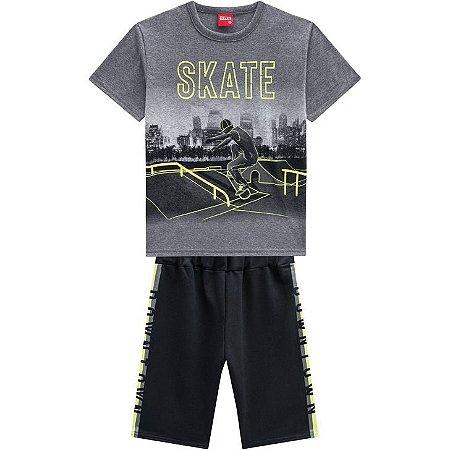Conjunto Infantil Bermuda em Moletinho e Camiseta - Kyly 110320