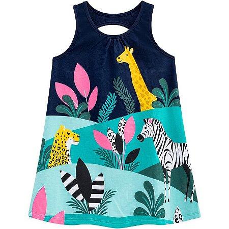 Vestido Infantil Regata Bichos Azul Marinho - Kyly 110216